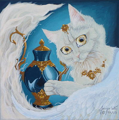 Fairy Painting - Golden Eyed Angel Bast Cat  by Jennifer  Anne Esposito