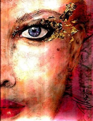 Female Mixed Media - Golden Eyes by P J Lewis