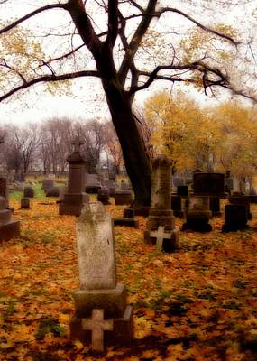 Graveyard Digital Art - Golden Fall Graveyard by Gothicrow Images