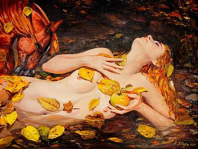 Painting - Golden Fall - The River Girl by Sefedin Stafa