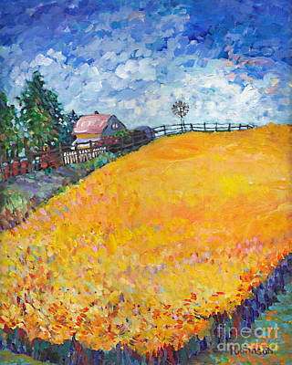 Painting - Golden Fields I Left Panel Of Triptych by Peggy Johnson