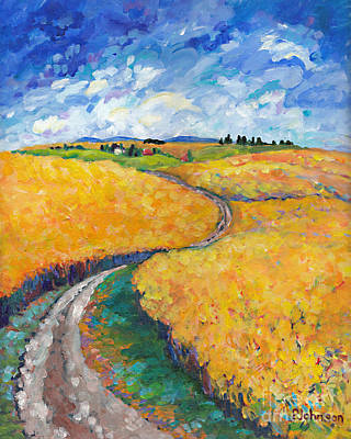 Impressionistic Landscape Painting - Golden Fields II Middle Panel Of Triptych by Peggy Johnson