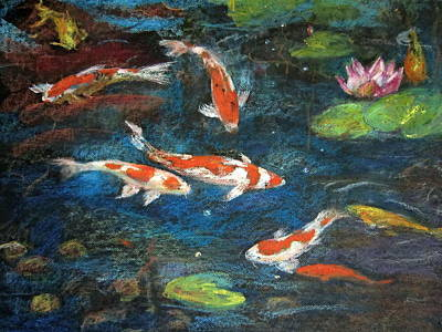 Art Print featuring the painting Golden Fish by Jieming Wang