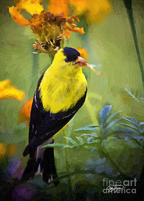 Painting - Golden Floral Finch by Cris Hayes