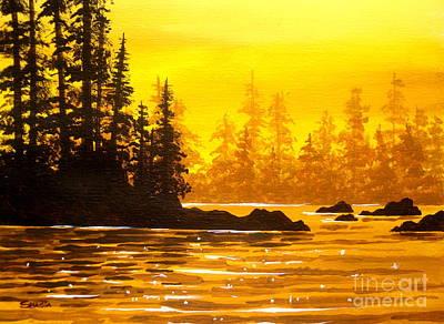 Painting - Golden  Flow - Fine Art Impressionist Serenity Landscape by Shasta Eone