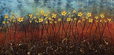 Painting - Golden Flowers by Carmen Guedez