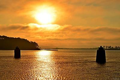 Photograph - Golden Foggy Sunrise Colors On Santa Rosa Sound At Hurlburt Harbor by Jeff at JSJ Photography