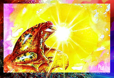 Art Print featuring the mixed media Golden Frog by Hartmut Jager