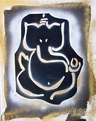 First Amendment Painting - Golden Ganesh  by Tony B Conscious