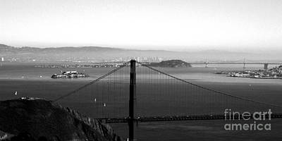 Black And White Art Photograph - Golden Gate And Bay Bridges by Linda Woods