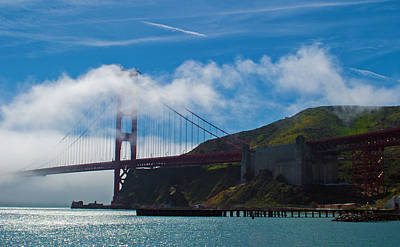Golden Gate And Fog Art Print by Rima Biswas
