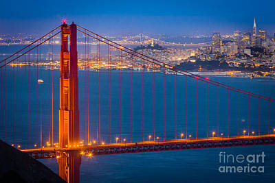 Bay Bridge Photograph - Golden Gate And San Francisco by Inge Johnsson
