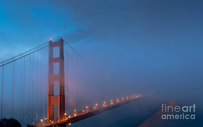 Golden Gate At Blue Hour Art Print by Along The Trail