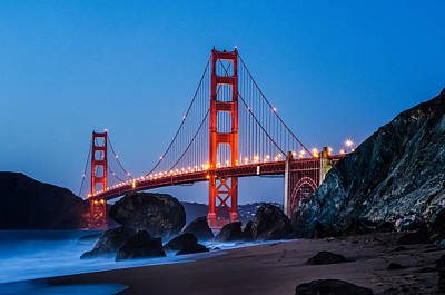 Photograph - Golden Gate At Twilight by Linda Villers