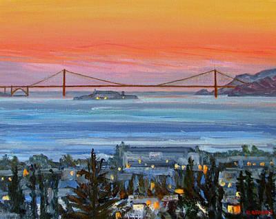 Alcatraz Painting - Golden Gate At Twilight by Robert Gerdes