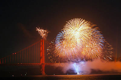 Photograph - Golden Gate Bridge 75th Anniversary Firework In San Francisco by Carol M Highsmith