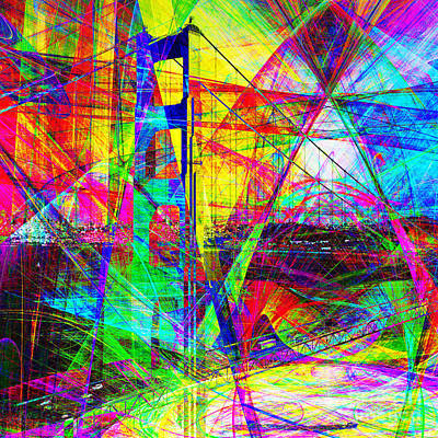 Bay Area Digital Art - Golden Gate Bridge Abstract 7d14516 Square by Wingsdomain Art and Photography