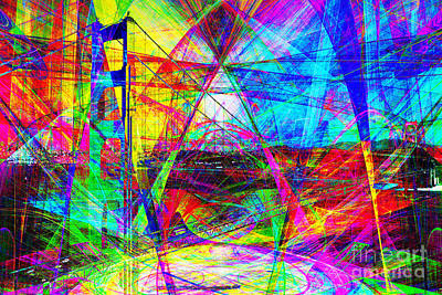 Bay Area Digital Art - Golden Gate Bridge Abstract 7d14516 by Wingsdomain Art and Photography