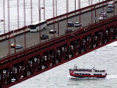 Photograph - Golden Gate Bridge Aerial Tour Boat by Jeff Lowe