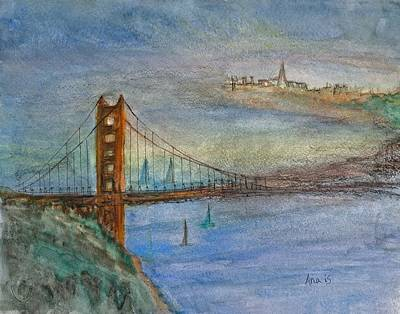 Painting - Golden Gate Bridge And Sailing by Anais DelaVega