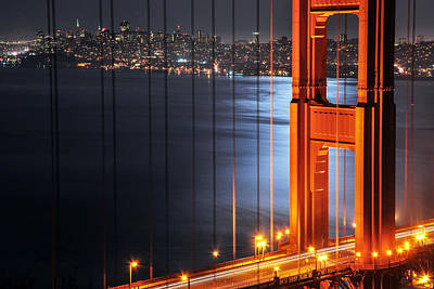 Golden Gate Bridge And Supermoon Art Print