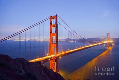 Photograph - Golden Gate Bridge At Dusk by Bryan Mullennix