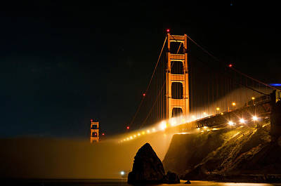 Photograph - Golden Gate Bridge At Night In The Fog by Todd Aaron