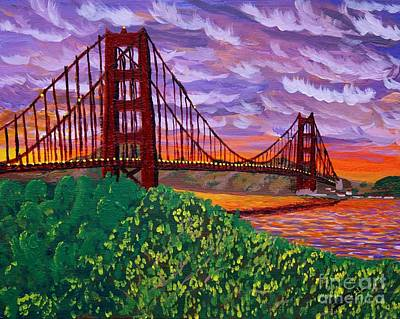 Painting - Golden Gate Bridge At Sunset by Vicki Maheu
