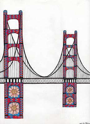 Golden Gate Bridge By Flower Child Art Print by Michael Friend