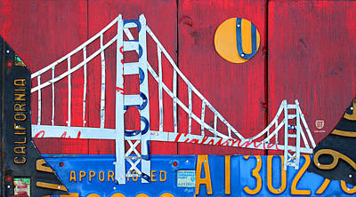 Mixed Media - Golden Gate Bridge California Recycled Vintage License Plate Art On Red Distressed Barn Wood by Design Turnpike