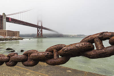 Gate Photograph - Golden Gate Bridge Chain by Adam Romanowicz