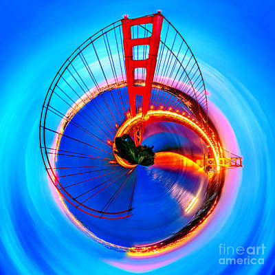 Vibrant Photograph - Golden Gate Bridge Circagraph by Az Jackson