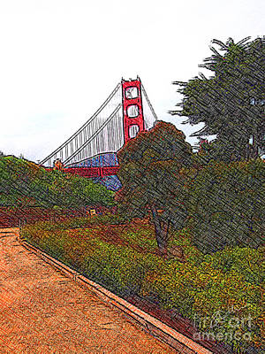 Digital Art - Golden Gate Bridge Crosshatch by Stephen Mitchell