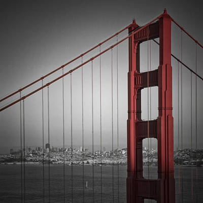 Golden Gate Bridge - Downtown View Print by Melanie Viola