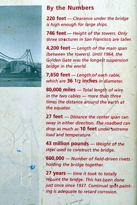 Photograph - Golden Gate Bridge Fact Sign by Jeff Lowe