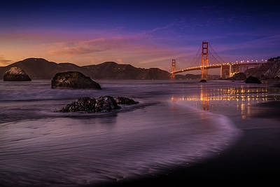 Bridge Photograph - Golden Gate Bridge Fading Daylight by Mike Leske