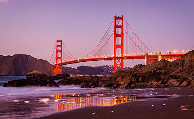 Golden Hour Photograph - Golden Gate Bridge From Baker Beach by Alexis Birkill