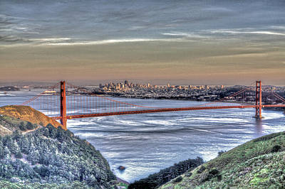 Photograph - Golden Gate Bridge From Marin Headlands 4 by SC Heffner