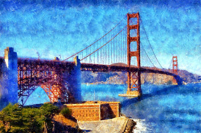Digital Art - Golden Gate Bridge by Kaylee Mason
