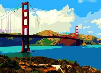 Art Print featuring the digital art Golden Gate Bridge by P Dwain Morris