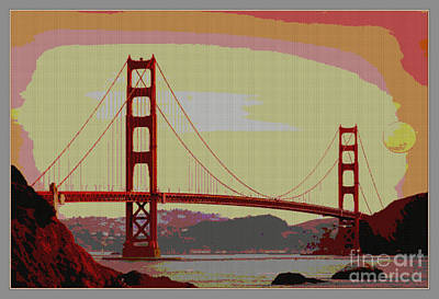 Gate Mixed Media - Golden Gate Bridge San Francisco  by Celestial Images