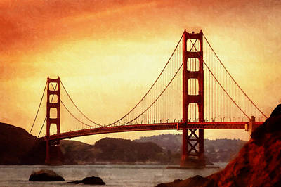 Painting - Golden Gate Bridge San Francisco California by Fine Art