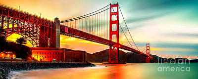 Golden Gate Sunset Art Print by Az Jackson