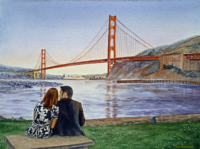 Beautiful Landscape Painting - Golden Gate Bridge San Francisco - Two Love Birds by Irina Sztukowski