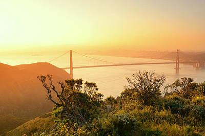 Photograph - Golden Gate Bridge Sunrise  by Songquan Deng