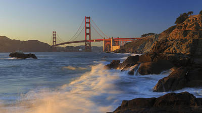 Surf Photograph - Golden Gate Bridge Sunset Study 4 by Scott Campbell