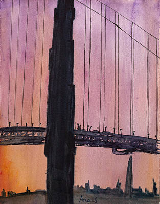 Painting - Golden Gate Bridge Tower by Anais DelaVega