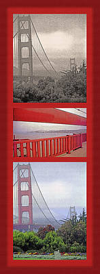 Built Structure Mixed Media - Golden Gate Bridge Triptych by Steve Ohlsen