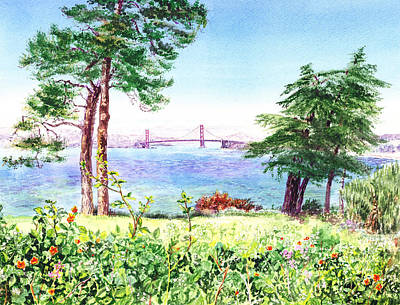 Sports Paintings - Golden Gate Bridge View From Lincoln Park San Francisco by Irina Sztukowski