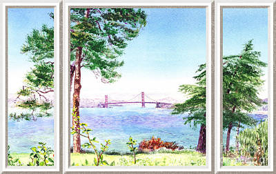 Sailboat Ocean Painting - Golden Gate Bridge View Window by Irina Sztukowski